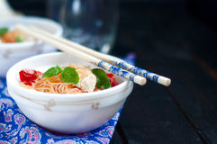 Chinese asian noodles stir fry with vegetables Stock Image