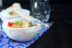 Chinese asian noodles stir fry with vegetables Royalty Free Stock Photo