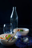 Chinese asian noodles stir fry with vegetables Stock Images