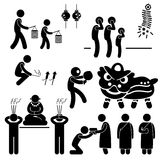 Chinese Asian Religion Tradition Stick Figure Pict. A set of people pictogram representing the people of Chinese praying and practicing their tradition and Royalty Free Stock Photography
