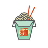 Chinese or Asian Restaurant Take Out Box - says `Noodles` in Japanese characters Royalty Free Stock Photography