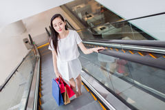 Chinese asian shopper smiling happy Royalty Free Stock Photos