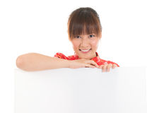 Chinese Asian woman and blank card Stock Photography