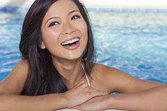 Chinese Asian Woman Girl in Spa Swimming Pool Royalty Free Stock Photography