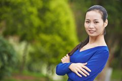 Chinese asian woman outdoors Stock Photo
