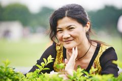 Chinese asian woman outdoors Stock Photography