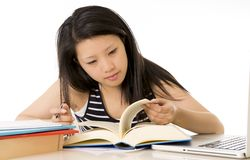 chinese asian woman student studying exam Royalty Free Stock Photo