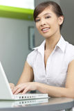 Chinese Asian Woman Using Laptop Computer Royalty Free Stock Image