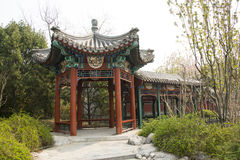 Chinese Asien, Peking, das antike Gebäude, Korridor, Pavillon lizenzfreie stockbilder