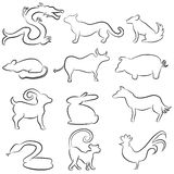 Chinese Astrology Animal Line Drawings Royalty Free Stock Photos