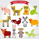 Chinese astrology set of funny animals on a white background. Royalty Free Stock Image
