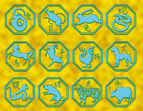 Chinese astrology symbols. Symbols of the classic chinese astrology royalty free illustration
