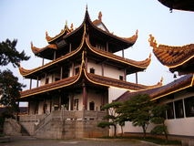 Chinese attic by trees(horizontal) royalty free stock image