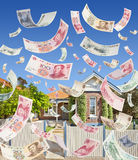 Chinese Immigration Australia Property Money Investment. A conceptual image dealing with legal and illegal amounts of Chinese money being invested in Australian royalty free stock photo