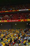 Chinese & Australische Voetbalverdedigers Royalty-vrije Stock Fotografie
