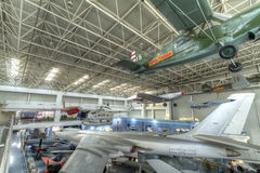 Chinese aviation museum. Is located in beijing, which is asia's largest aviation museum, is the world's top five aviation museum. this photo was taken inside stock image