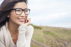 Chinese Aziatische Vrouw die Glazen dragen Stock Fotografie