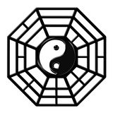 Chinese Ba Gua Octagon Yin Yang Symbol. Chinese Ba Gua Eight Sided Trigrams OCtagon Yin Yang Symbol Isolated on White Background Royalty Free Stock Images