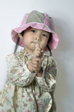 A chinese baby. A Chinese  baby with a cap Royalty Free Stock Image