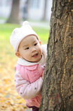 Chinese baby in autumn park Royalty Free Stock Images