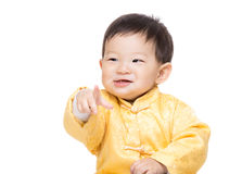 Chinese baby boy finger point front Royalty Free Stock Photos