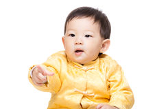 Chinese baby boy finger pointing toward Royalty Free Stock Image