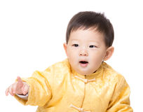 Chinese baby boy finger pointing towards Stock Image