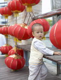 Chinese baby boy and Lantern. In a China National day holiday Royalty Free Stock Photo