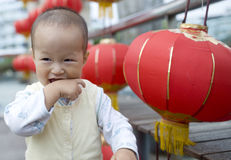 Chinese baby boy and Lantern Stock Photography