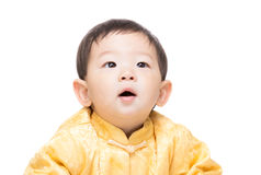 Chinese baby boy looking up Royalty Free Stock Images