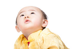 Chinese baby boy looking up Royalty Free Stock Image