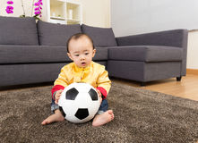Chinese baby boy play soccer ball Stock Images