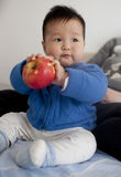 Chinese baby boy playing a apple at a home Royalty Free Stock Image