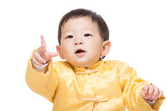 Chinese baby boy pointing front Royalty Free Stock Photos