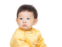 Chinese baby boy portrait. Isolated on white Stock Photography