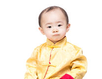 Chinese baby boy portrait with traditional costume Royalty Free Stock Photos