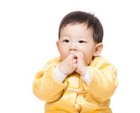 Chinese baby boy suck finger Royalty Free Stock Images