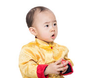 Chinese baby boy with toy block Royalty Free Stock Image