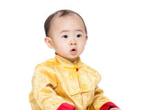 c92edb02f Chinese baby boy with traditional costume. Isolated on white stock image