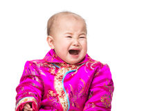 53a25b58c Chinese baby crying with traditional costume. Isolated on white stock  photography