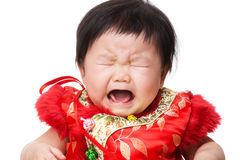 Chinese baby girl crying Royalty Free Stock Images