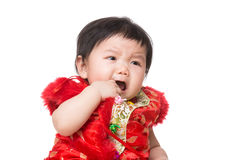 Chinese baby girl crying Stock Image