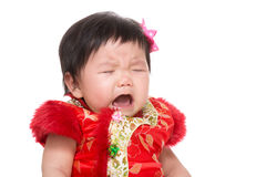 Chinese baby girl crying isolated Stock Photo