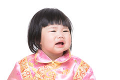Chinese baby girl crying royalty free stock photos
