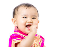 Chinese baby girl excited Stock Photo