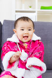 Chinese baby girl feel so excited Royalty Free Stock Photography