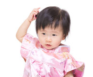 Chinese baby girl feeling confuse Stock Images