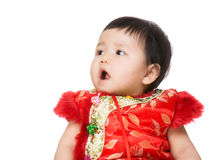 Chinese baby girl looking another side Stock Images