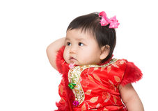Chinese baby girl touching head Royalty Free Stock Photography