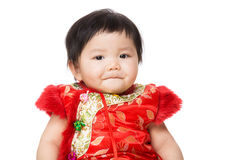 Chinese baby girl with traditional costume for new year Stock Image